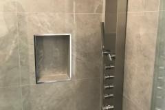 Close up of shower renovation details