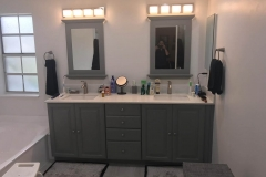 White and gray Condominium bathroom remodeling in Plantation, FL