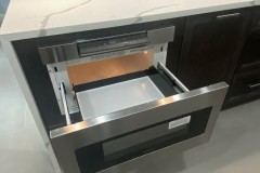 kitchen island with oven build in, close up