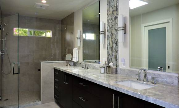 Walk in shower and double vanity, his and hers, bathroom renovation in Fort Lauderdale