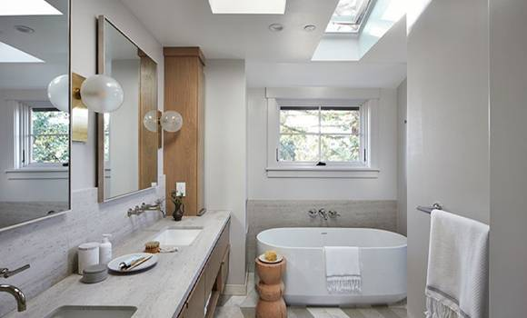 Beige and white bathroom remodeling in Coral Springs