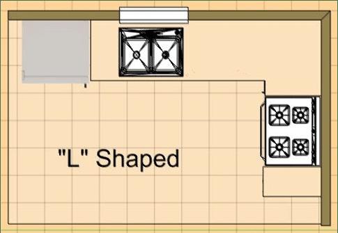 """L"" Shaped kitchen blueprint"