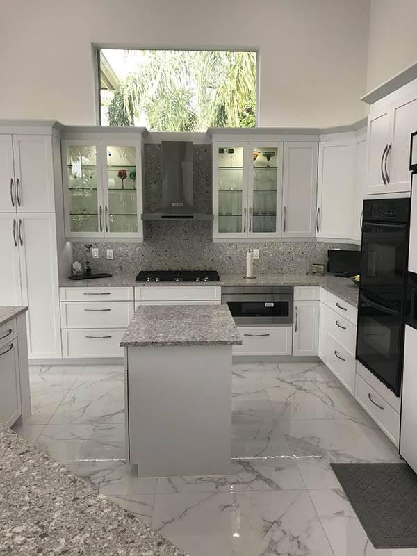 White modern Condominium Kitchen Remodeling For Pompano Beach Condo