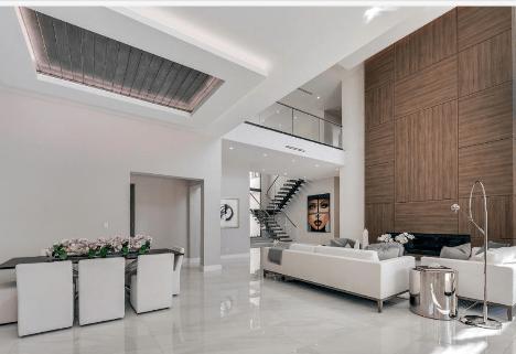 Remodeled modern living room in Pompano Beach, FL