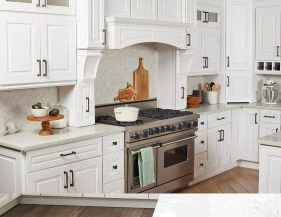 Kitchen Cabinets in Atlas Blanco