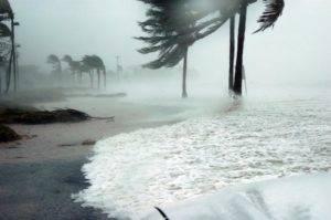 Hurricane debris and water rising